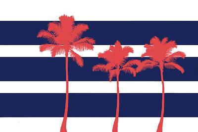 Contemporary Beach Painting - Indigo Stripe Palms II by Ramona Murdock