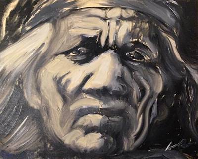 Painting - Indio Indian Black And White Oil Painting by Armando Renteria