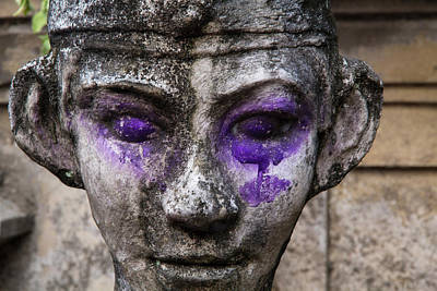 Indonesia, Bali Purple Dye On Statue Print by Emily Wilson
