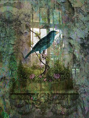Indoor Garden With Bird Print by Sarah Vernon
