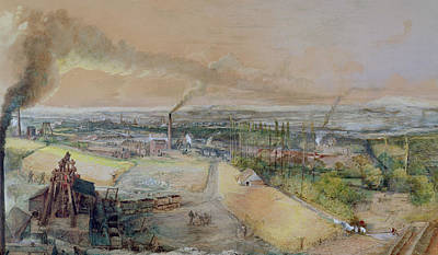 Industrial Landscape In The Blanzy Coal Field Print by Ignace Francois Bonhomme