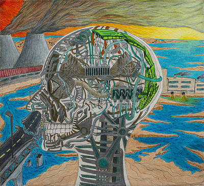 Oil Lamp Drawing - Industrialist Transhumanism by Maxwell Hanson