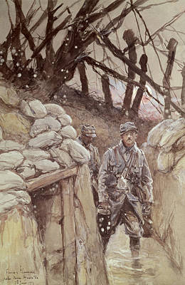 Trenches Photograph - Infantrymen In A Trench, Notre-dame De Lorette, 1915 Wc On Paper by Francois Flameng