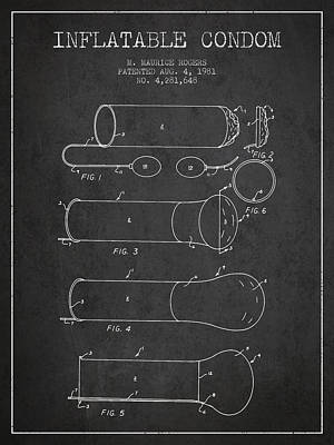 Condom Drawing - Inflatable Condom Patent From 1981 - Charcoal by Aged Pixel