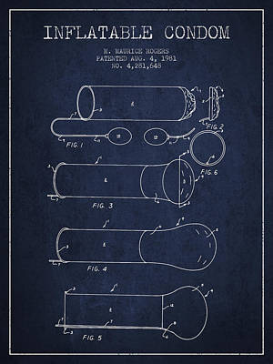 Condom Drawing - Inflatable Condom Patent From 1981 - Navy Blue by Aged Pixel