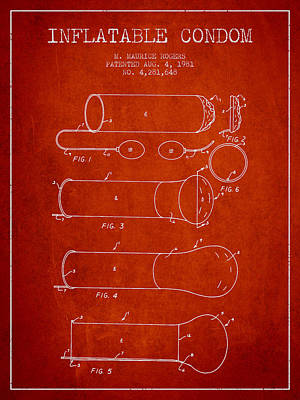 Condom Drawing - Inflatable Condom Patent From 1981 - Red by Aged Pixel