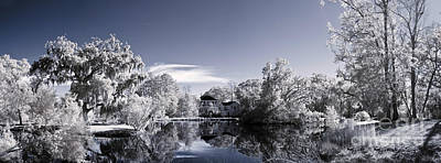 Infrared Landscape Of Parkland And Pond Print by John Wollwerth