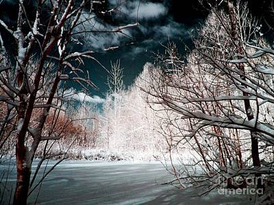 Snow Photograph - Infrared Winter Pond by Stephanie Kripa