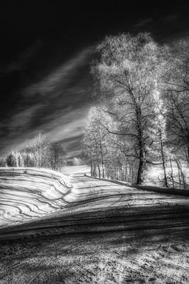 Infrared Winter Road Bw Print by Erik Brede