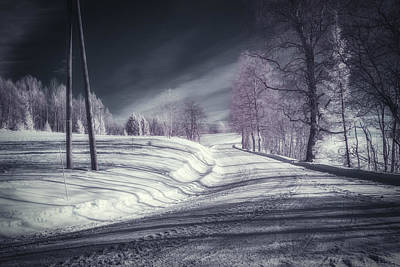 Infrared Winter Road Print by Erik Brede