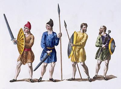 Vikings Drawing - Inhabitants Of Britain by English School