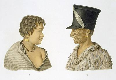 2 Faces Drawing - Inhabitants Of New Zealand, 1826 by French School