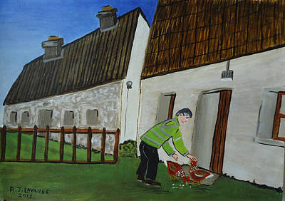 Spiddal Painting - Inis Meain 14 Chicken Time by Roland LaVallee