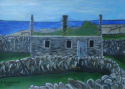 Spiddal Painting - Inis Meain 17 Old House by Roland LaVallee