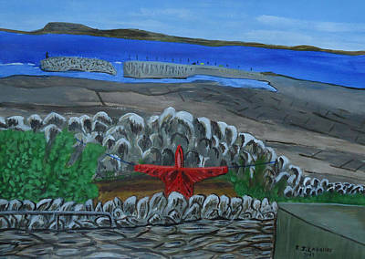 Spiddal Painting - Inis Meain 19 Scarecrow In Red by Roland LaVallee