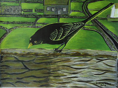 Spiddal Painting - Inis Meain 24 Sunny Blackbird by Roland LaVallee