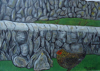 Spiddal Painting - Inis Meain 3 Chicken by Roland LaVallee
