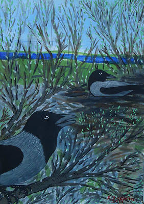 Spiddal Painting - Inis Meain 5 Hooded Crows by Roland LaVallee
