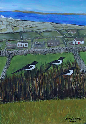 Spiddal Painting - Inis Meain 7 Magpies by Roland LaVallee