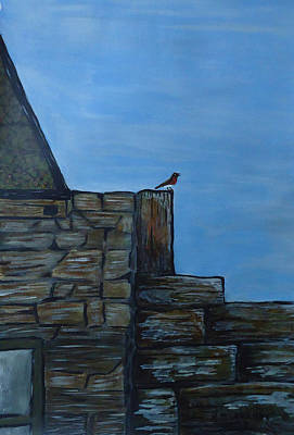 Spiddal Painting - Inis Meain 8 Robin by Roland LaVallee