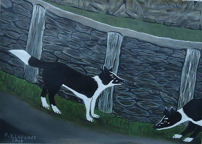 Spiddal Painting - Inis Meain 9 Working Dogs by Roland LaVallee