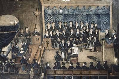 Initiation Ceremony Of A Freemason 19th Print by Everett
