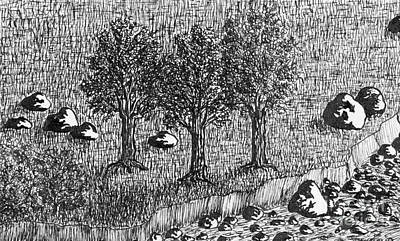 Ink Drawing - Ink Drawing With Trees And Riverbed. by Kerstin Ivarsson