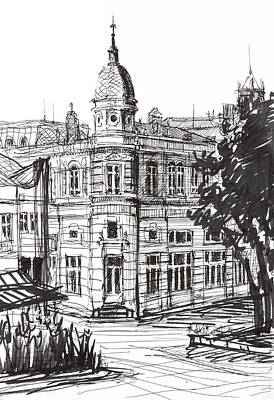 Paper Images Drawing - Ink Graphics Of An Old Building In Bulgaria by Kiril Stanchev