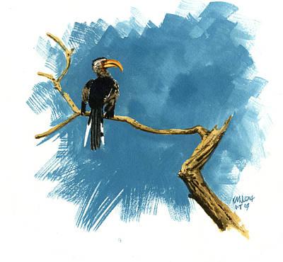 Hornbill Painting - Inktober 14 Sentry by Ken Meyer jr