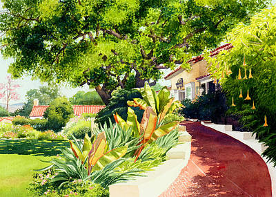 Roofs Painting - Inn At Rancho Santa Fe by Mary Helmreich
