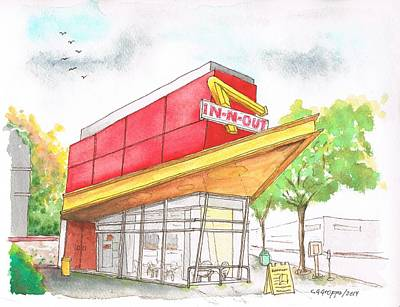 Meal Painting - In'n Out Burger In San Francisco - Calfornia by Carlos G Groppa