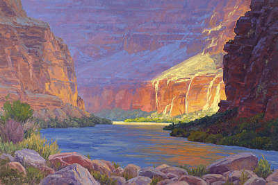 Reflections In River Painting - Inner Glow Of The Canyon by Cody DeLong