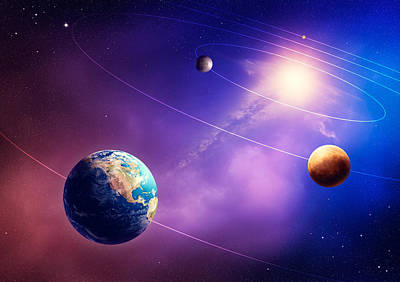 Circle Digital Art - Inner Solar System Planets by Johan Swanepoel