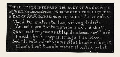 Stratford Drawing - Inscription On The Gravestone Of Shakespeares Wife by English School