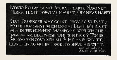 Stratford Drawing - Inscription On The Memorial Tablet To Shakespeare by English School