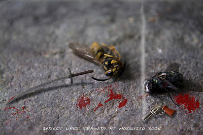 Wasp.insect Digital Art - Insect Wars - Tragedy At Mosquito Rock by D Daulby