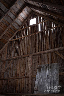 Inside An Old Barn Print by Edward Fielding