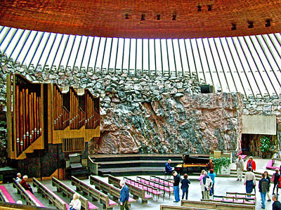 Helsinki Finland Digital Art - Inside Church In The Rock In Helsinki-finland by Ruth Hager