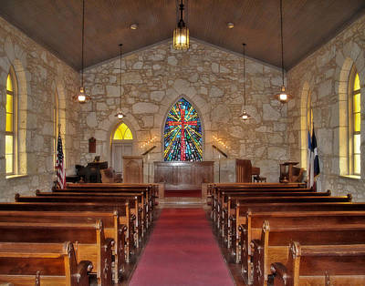 Inside La Villita Church Print by David and Carol Kelly