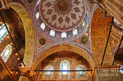 Inside The Blue Mosque Print by MaryJane Armstrong
