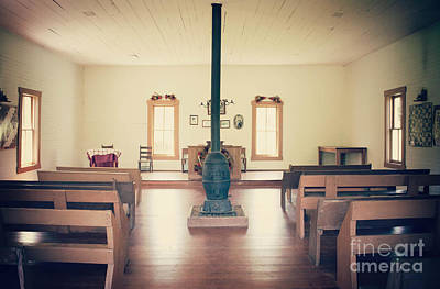 Window Bench Photograph - Inside The Church House by Lena Auxier