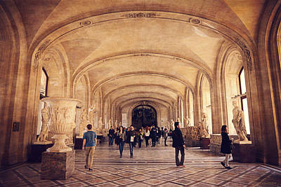Inside The Louvre Museum Print by Maria Angelica Maira