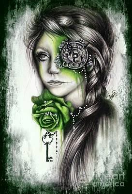 Sugar Skull Girl Drawing - Insomnia - With Digital Grunge Added by Sheena Pike