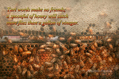 Inspiration - Apiary - Bee's - Sweet Success - Ben Franklin Print by Mike Savad