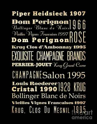 Inspirational Arts - Exquisite Champagne Brands Print by Joy House Studio