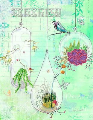 Inspire Painting - Inspirational Dragonfly Terrarium Original Painting Succulent Art By Megan Duncanson by Megan Duncanson