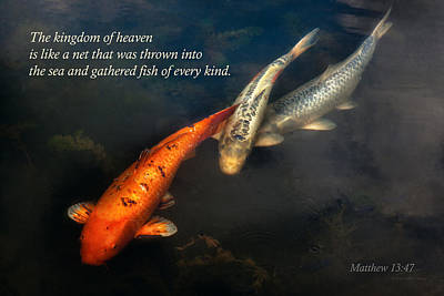 Christian Art . Devotional Art Photograph - Inspirational - Gathering Fish Of Every Kind - Matthew 13-47 by Mike Savad
