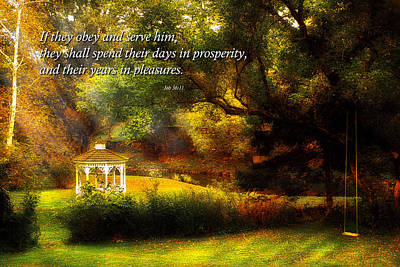 Parable Photograph - Inspirational - Prosperity - Job 36-11 by Mike Savad