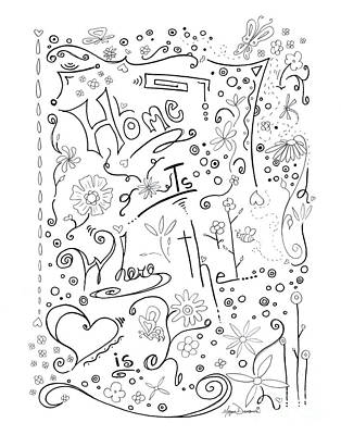Joyful Drawing - Inspirational Quote Black And White Typography Art Home Is Where The Heart Is By Megan Duncanson by Megan Duncanson