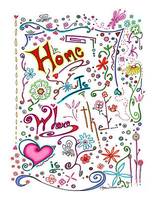Inspirational Quote Colorful Whimsical Typography Art Home Is Where The Heart Is By Megan Duncanson Print by Megan Duncanson